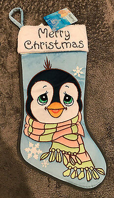 Precious Moments Merry Christmas Penguin Snowflakes Blue Stocking NEW NWT
