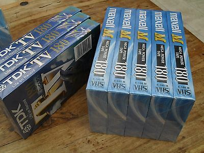 8 x video tapes E180 VHS , 5 X MAXELL AND 3 X TDK  UNUSED SEALED