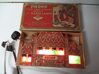 Very Hard To Find Propp 1930's Mazda Bell C-6 Xmas Light Set - Bell Tower Box