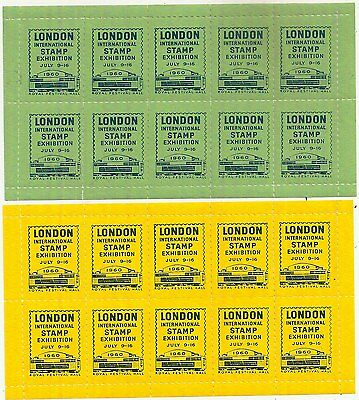 1960 London Stampex Festival Hall Sheets (20 Stamps) Yellow+Green Mnh