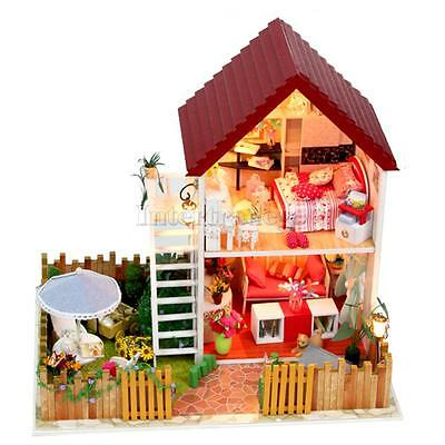 DIY Wooden Dollhouse Villa Miniature Kit with Lights Furniture House Model