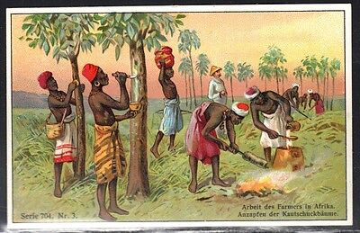 Circa 1898 German East Africa   Trade Card, Locals  Tapping Trees