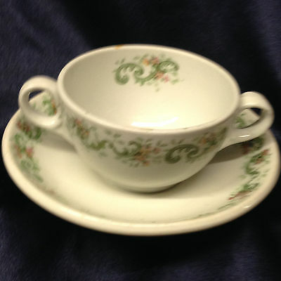 Ridgways England L Barth Sons Clinton Double Handled Cup Bowl & Saucer 8 Oz