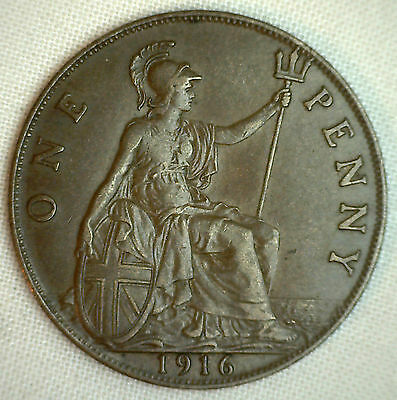 1916 Great Britain Penny KM#810 Bronze Coin George V XF #P