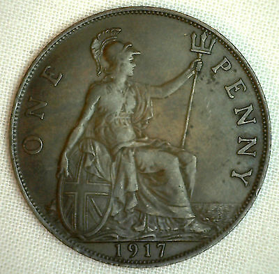 1917 Great Britain Penny KM#810 Bronze Coin George V XF #P