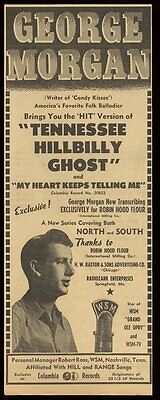 1951 George Morgan photo Tennessee Hillbilly Ghost song release trade ad
