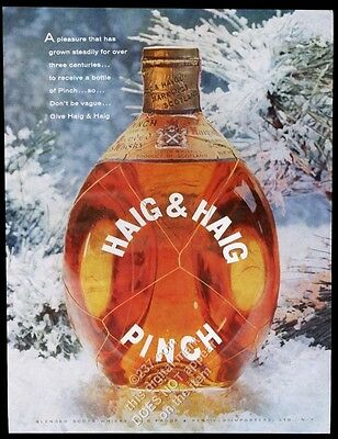 1958 Haig & Haig Pinch Scotch whisky bottle color photo vintage print ad