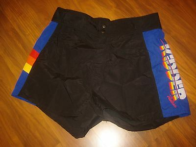 Vtg 70s Mens 34 Kidder Redline SKI Rainbow Trim BLACK Swim suit trunks shorts