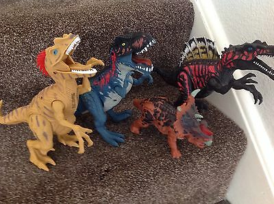 4 Roaring, Light Up, Battery Operated Dinosaurs