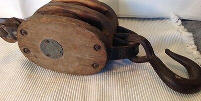 Vtg. Large Double Wood Pulley Mkd. Madesco Productions, Easton Pa  W Metal Tag