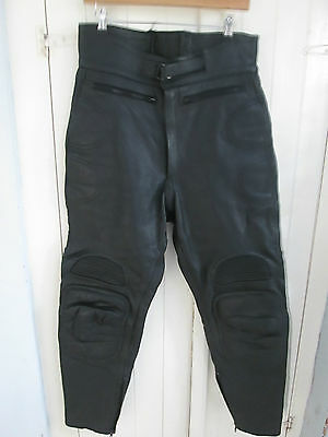 Black real leather motorbike trousers - waist 34""