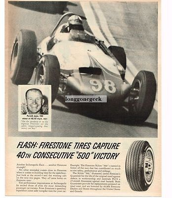 1963 Firestone Tires Parnelli Jones Wins Indy 500 Vtg Print Ad