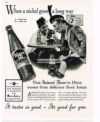 1937 HIRES ROOT BEER Scottish Men Scotsmen Vtg Print Ad