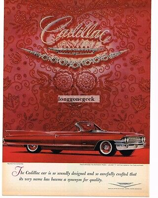 1961 CADILLAC Red Sixty-Two Convertible French Emproidery Vtg Print Ad