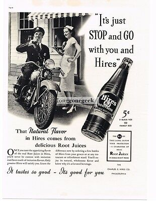 1937 HIRES ROOT BEER Motorcycle Cop Policeman Waitress Vtg Print Ad