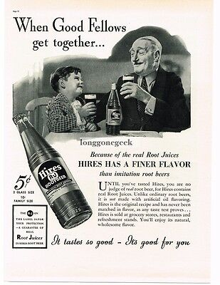 1937 HIRES ROOT BEER Grandfather Grandson Enjoying Vtg Print Ad