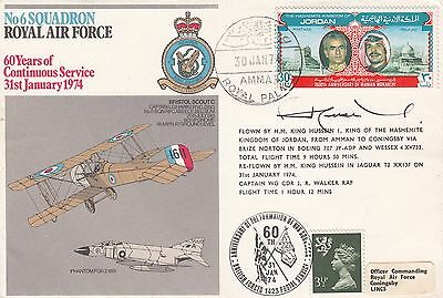 Very Rare RAF20d No 6 Sqn RAF Signed by H M King Hussein of Jordan Cover