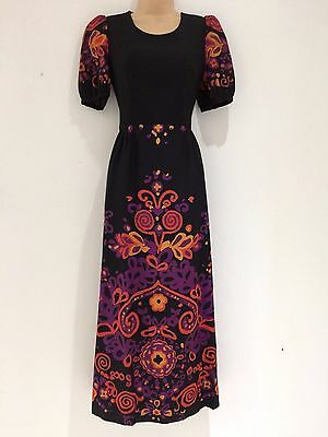 Vintage 70's Black Plum Orange Abstract Floral Pure New Wool Short Maxi Dress 8