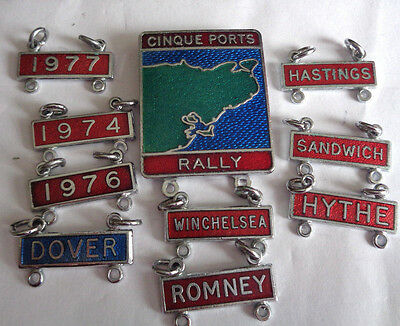 CINQUE PORTS RALLY ENAMEL LAPEL BADGE lots of DANGLERS of RALLYS -BIKES SCOOTERS