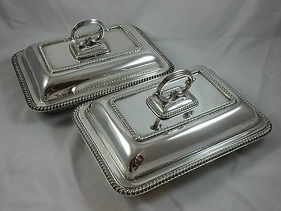 QUALITY, pair, solid silver ENTREE DISHES, 1926, 3329gm