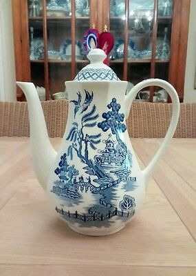 "J & G Meakin Royal Staffordshire ""willow""  Blue & White Coffee Pot"