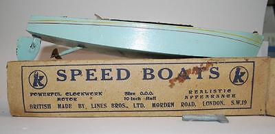 Vintage - K / Lines Bros - Speed Boat - Wooden Hull - Size Ooo / 10 Inch Hull