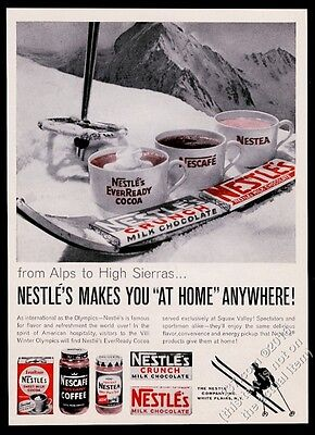 1960 Nestle's Crunch & Milk Chocolate candy bad skiing theme vintage print ad