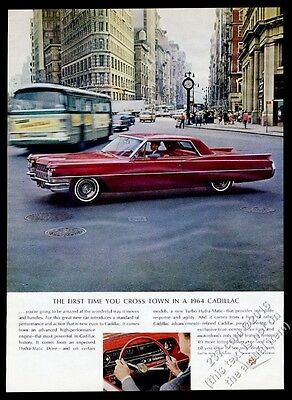 1964 Cadillac Coupe deVille red car NYC Flatiron Building photo vintage print ad