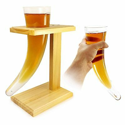 Tuff-Luv Personalised Viking Beer Horn Glass with Wooden Stand 17oz / 480ml