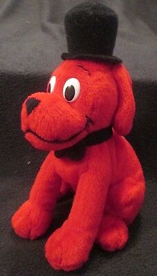 "7"" Clifford The Big Red Dog Bean Bag Plush Dog With Top Hat"