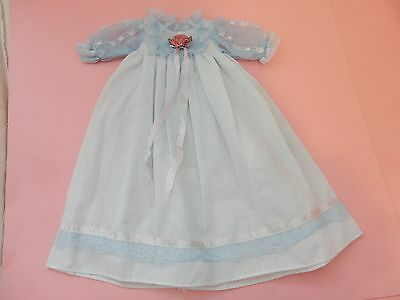 Pretty Vintage Pale Blue W Pink Rosebud Bisque Doll Dress
