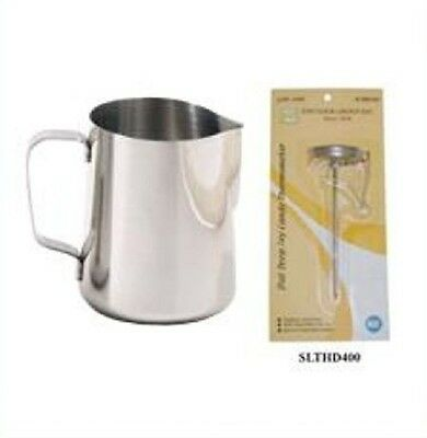 1 PC Espresso Milk Frothing Pitcher 12 oz & 1 PC Thermometer NEW