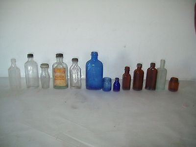 Lot of 13 vintage screw top medicine bottles ,Vaseline  Milk of Magnesia