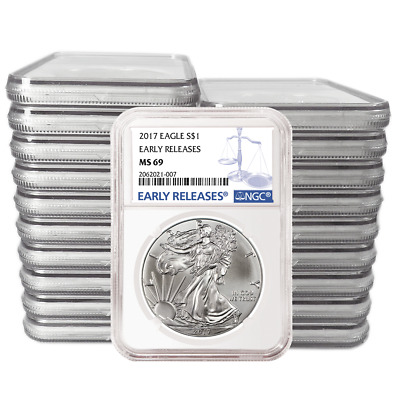 Lot of 20 - 2017 $1 American Silver Eagle NGC MS69 Early Releases Blue ER Label