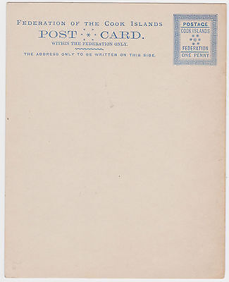 COOK ISLANDS FEDERATION 1d POSTAL STATIONERY POSTCARD RARE FORMAT MINT VGC 1890s