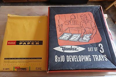 Vintage Developing Trays 3- 8 x 10 Yankee Darkroom Photography Trays + Paper