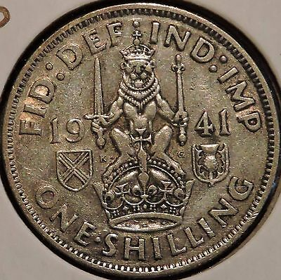 British Silver Shilling - 1941-S - King George VI - $1 Unlimited Shipping