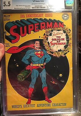 Superman 53 ~ Cgc 5.5! Unrestored Key Comic Book ~ Off White/white Pages! 1948