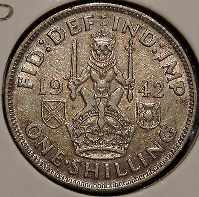 British Silver Shilling - 1942-S - King George VI - $1 Unlimited Shipping