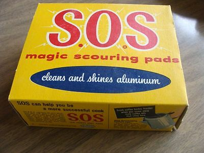 Vintage 1954 SOS Pads in Box Great Graphics White Wall Tire