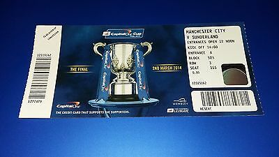 Manchester City v Sunderland 2014 Capital One Cup Final Ticket