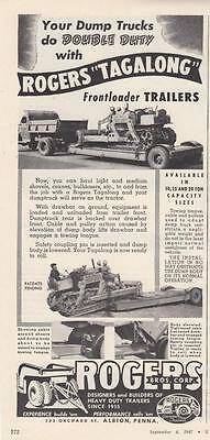 1947 Rogers Bros Corp Albion PA Ad: Rogers Tagalong Frontloader Trailers