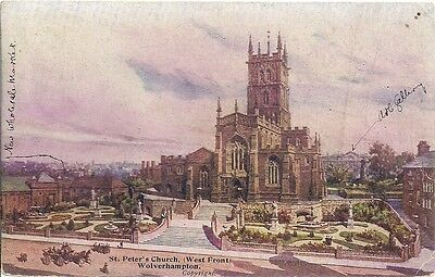 Scarce Old Postcard - St Peter's Church - Wolverhampton - Staffordshire 1906