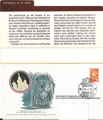 Cathedral of St.Basil Silver Medallion Cachet 100 Greatest Landmarks UNC Russia