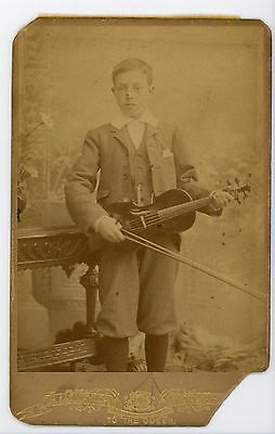 Boy in suit with violin musical instrument   vintage cabinet card photograph