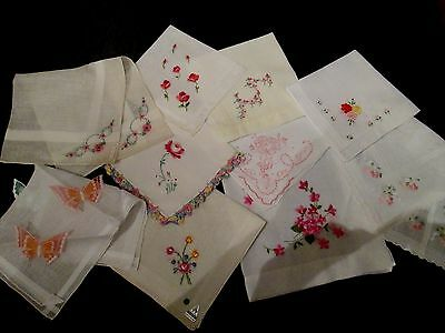 Lot of 10 Vintage PINK Embroidered floral hankies  finer quality