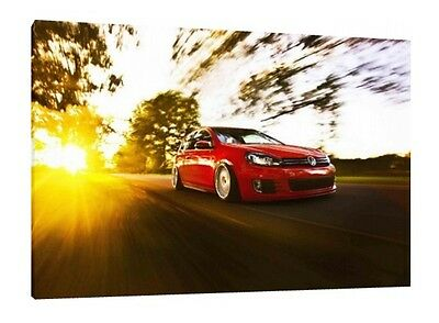 Volkswagen Golf Gti - 30x20 Inch Canvas - VW Framed Picture Print Poster Art