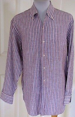 Zegna Burgundy Blue White Striped Linen Shirt Size Large Button Up Long Sleeve