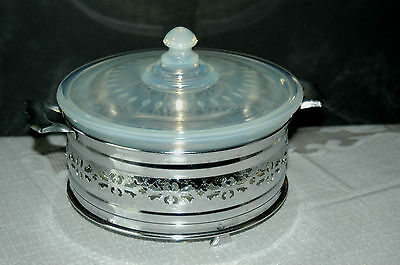 1930's Fry Oven glass Opalescent Casserole with Leaf Etched Lid & Chrome Carrier