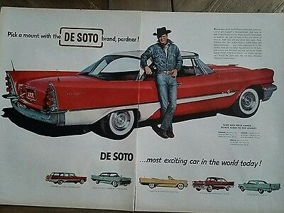 1957 red white Chrysler DeSoto car cowboy jeans hat to page ad